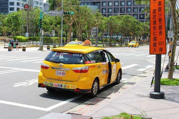 台湾台北黄色いタクシー