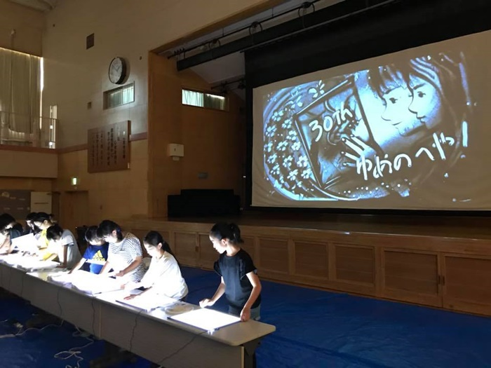 【サンドアート】札幌市立丘珠小学校図書館「ゆめのへや」創立30周年式典